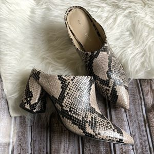Marc Fisher Gray snakeskin heel pointed toe mules
